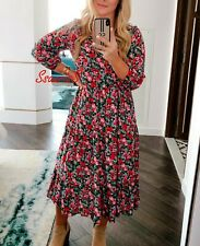 ZARA LONG FLORAL PRINT FLOWING V-NECK RUFFLED DRESS, SIZE XL / UK 14 16.