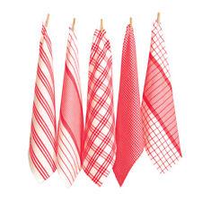 RANS Milan Stripe & Check Tea Towel Set Red 5pce
