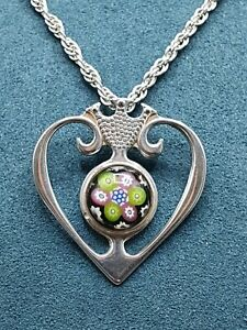 """Caithness Glass Sterling Silver Pendant & 22"""" Silver Chain Hallmarked. Stunning!"""