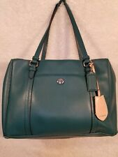 Coach Peyton F25669  blue  Leather Double Zip Carryall Tote Bag  used