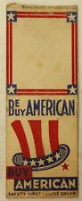 New listing 1940's Be American Buy American Matchbook Bobtail