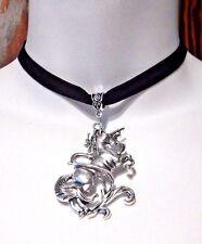 BLACK VELVET SILVER UNICORN CHOKER mythical fantasy horse gothic necklace U1
