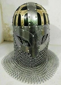 Medieval Chain-Mail Historical steel Brass Helmet Vintage Armor Viking Halloween