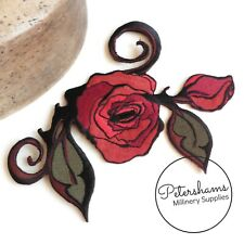 Large Embroidered Sew-on Rose Patch Motif for Millinery & Crafts