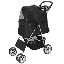 Dog Stroller Travel Folding Carrier Small Medium Cat Pet 4 Wheeler w/ Cup Holder