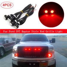 4Pcs Ford SVT Raptor Style LED Red Grille Light Kit Fit Truck SUV Red