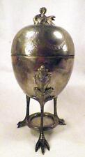 Victorian Silverplate Egg Cooker Swan Finial Repousse Floral Lid M & M W420