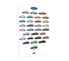 Ford 'RS Cars'  - 30x20 Inch Canvas. Focus Fiesta Sierra Escort Capri