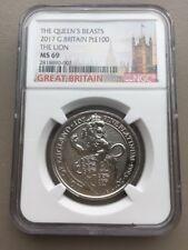 2017 U.K. 100 Pound 1 oz Platinum Queen's Beast The Lion NGC MS69  London Label