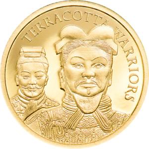 Dorado Terracota Warriors 9999 Monedas de Oro 5$ Cook Islands W/COA & Caja