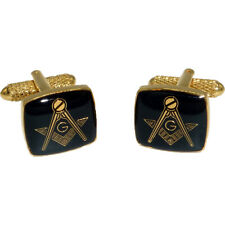 Masonic Square & Compass with G Cufflinks - Black and Gold Onyx Art - Gift Boxed