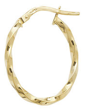 9 carat Yellow Gold Hoop Ladies Oval Twisted Earrings 15MM 0.8gr *FREE UK POST*