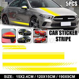 5x Auto Side Body Stickers Stripe Waterproof Hood Decals Rear View Mirror Yellow