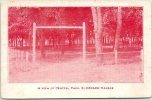 "EL DORADO, Kansas Postcard ""A View of CENTRAL PARK"" Entrance / 1908 Cancel"