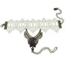 Bracelet femme réglable Dentelle blanc satin violet chaîne gothique lolita sexy