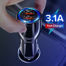 Car Phone Charger 18W 3.1A Dual USB Fast Charging QC iphone Samsung Xiaomi Mobil