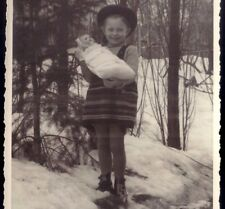 GIRL on snow with her BABY DOLL. Original Vintage Real photo private postcard