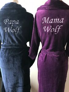 Embroidered Luxury Warm soft Any Name Dressing gown,Personalised dressing gown