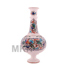 Flower Vase Marble Inlay Pot Gem Stone Decor Home Planter Marquetry Parrot