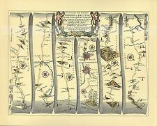MARLBOROUGH to HUNTSPILL inc Bristol, Chippenham Repro 17c OGILBY  Old Road Map