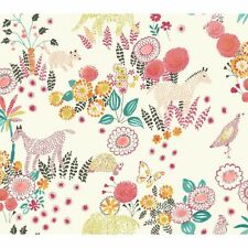 York Wallcoverings WK6971 Waverly Kids Reverie Wallpaper, White/Coral/ FREE SHIP