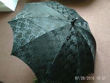 Antiguo Mango De Bambú tallada Seda Negro Caña Victoriano Parasol