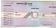 CHEQUE CHECK FINANCE BANK  ZAMBIA SPECIMEN GRAND RARE ZAMBIE