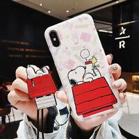 Cute Cartoon Snoopy Strap soft tpu Phone Case Cover For iPhone X XS Max 8 7 plus