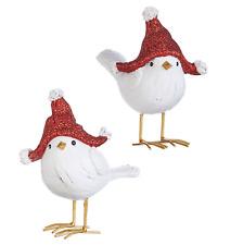 "2-PK 5.25"" BIRD WITH GLITTERED HAT RAZ Christmas TABLE TOP Decor 4009885 NEW"