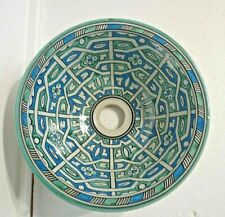 HAND PAINTED  CERAMIC HAND WASH BASIN * FES POTTERY 29 cm Blue & Green (B4)