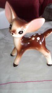 Vintage Kitsch Porcelain Deer Fawn Bambi figurine
