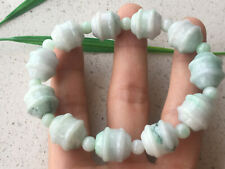 Certified Natural A Grade Exquisite 14mm Light green Jadeite Carving Bracele 259