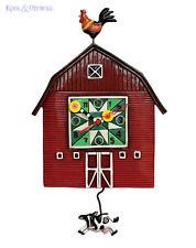 Gorgeous Red BARN YARD Farm Designer Wall Clock by Allen Designs