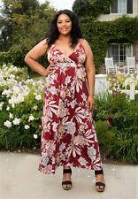 Plus Size Maxi Dress 4x SWAK Empire Waist Sleeveless Polyester Blend Burgundy