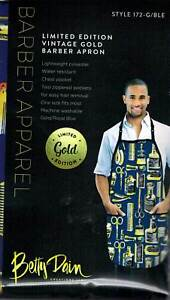 Gold and Blue Vintage Style Barber Apron, very sharp looking