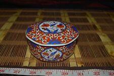 Asian Porcelain Trinket Bowl Container Jar w/ Orange Flowers & Blue Birds