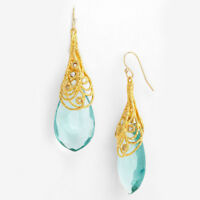 Vintage Women Aquamarine Wedding Drop Dangle 18K Yellow Gold Plated Earrings