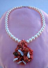 Collana perla argento 925 ciondolo con corallo e madreperla made in italy