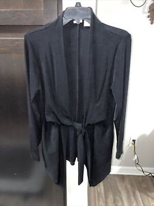 Chicos travelers Sz 1 Black Acetate Slinky Stretch Tie front Casual L/S Jacket