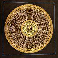Genuine HandPainted Tibetan Mantra Mandala thangka Painting Meditation Buddha c