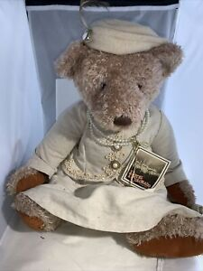 "Russ Berrie 14"" Lady Evelyn Bear Plush Dress Pearls Hat Sitting Fancy 1990s Tag"