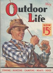 Vintage MAY 1936 OUTDOOR LIFE magazine hunting fishing  H. Hoecker cover