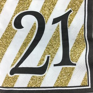 Happy 21 Birthday party Napkins Black and Gold Pack 16 2 Ply Luxury Serviettes
