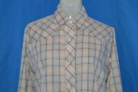 vintage 80s PANHANDLE SLIM PINK PLAID COWBOY PEARL SNAP WOMEN'S SHIRT SZ 14 35