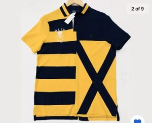 RALPH LAUREN RUGBY POLO SHIRT CUSTOM SLIM FIT SKULL AND CROSSBONES EMBROIDERY.