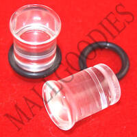 1330 Acrylic Single Flare Clear 0 Gauge 0G Plugs 8mm MallGoodies 1 Pair (2pcs)