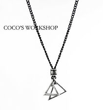 SILVER BLACK MENS TRIANGLE PENDANT NECKLACE LONG CHAIN PUNK GOTH GIFT