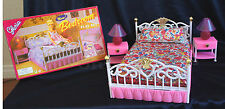 Gloria Furniture Dollhouse Size New Bedroom Lighted Bed Lamp Bed Frame Playset