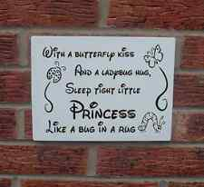 Princess signs sleep tight bug in a rug shabby vintage chic plaque new design