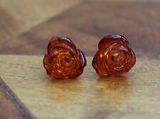 Carved Amber Rose Flower Sterling Silver 925 Earrings Studs